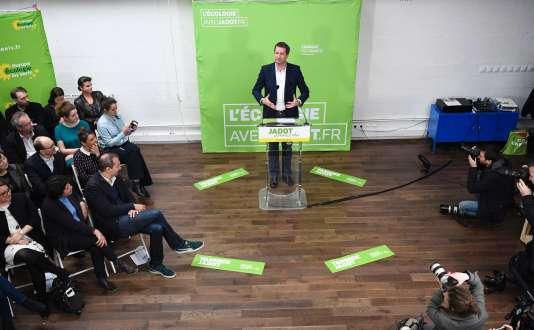 Vœux à la presse de Yannick Jadot, candidat écologiste à la présidentielle, à Paris, le 11 janvier.