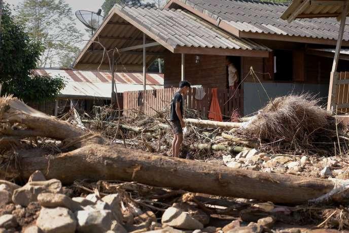 Les conséquences des inondations dans la province de Nakhon Si Thammarat, en Thaïlande.