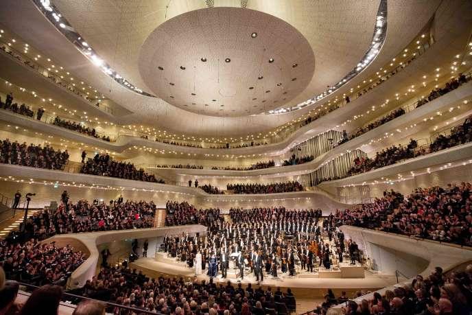 La salle de concert de la Philharmonie, lors du concert d'ouverture du 11janvier, qui peut accueillir 2100 auditeurs.