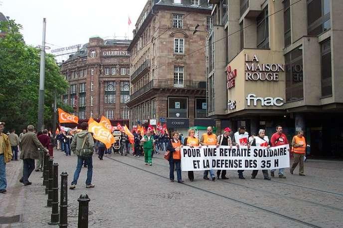 Manifestation contre la réforme des retraites à Strasbourg, en juin 2008.