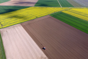 An aerial view of a field is pictured on April 20, 2016 in Bergheim. / AFP PHOTO / dpa / Henning Kaiser / Germany OUT