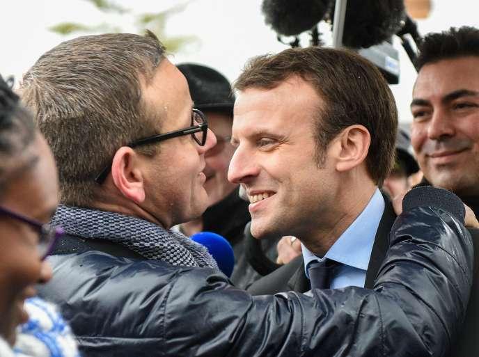 Emmanuel Macron, candidat à la présidentielle, à Nœux-les-Mines (Pas-de-Calais), le13janvier.