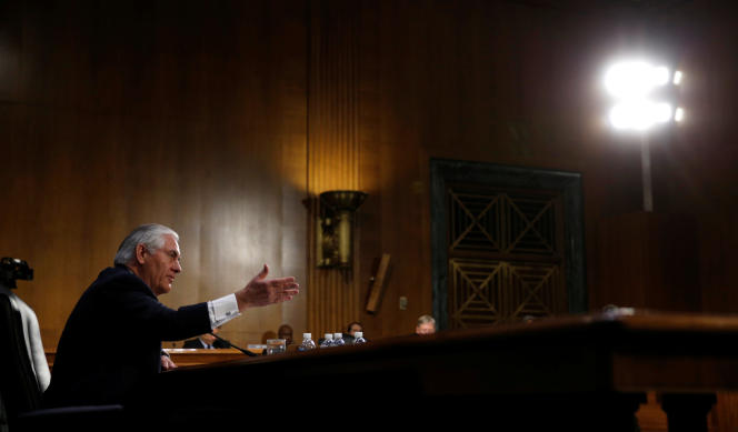 Rex Tillerson, the former chairman and chief executive officer of Exxon Mobil, testifies during a Senate Foreign Relations Committee confirmation hearing to become U.S. Secretary of State on Capitol Hill in Washington January 11, 2017. REUTERS/Kevin Lamarque - RTX2YJ08