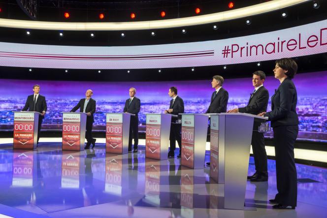 Lors du premier des trois débats télévisés entre candidats à la primaire de la gauche, le 12 janvier.