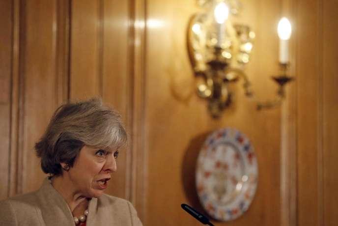 La première ministre britannique, Theresa May, lors d'une conférence de presse à Londres, le 13 janvier.
