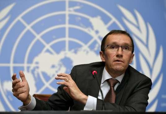 Le Norvégien Espen Barth Eide, conseiller spécial sur Chypre,lors d'une conférence de presse à Genève, le 13 janvier 2017.