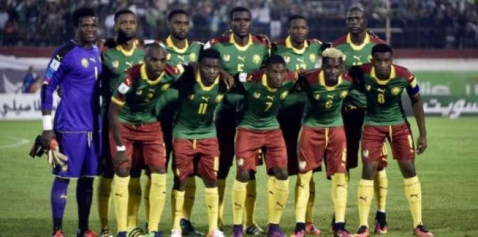L'équipe nationale du Cameroun lors de la qualification pour la CAN 2017, à Blida, en Algérie, le 9 octobre 2016.