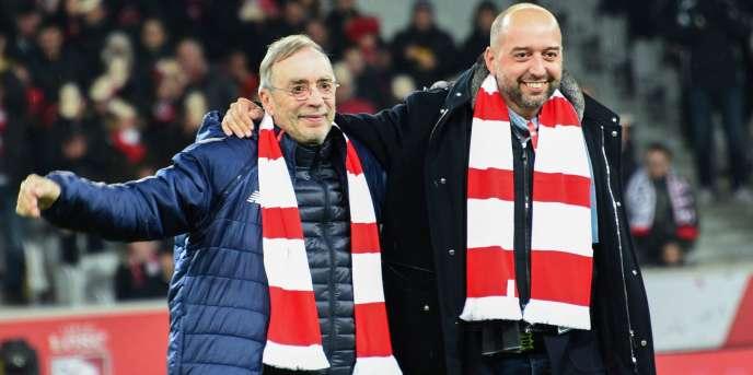 Michel Seydoux, à gauche, et le nouveau patron du LOSC, Gérard Lopez, le 13 janvier àLille.