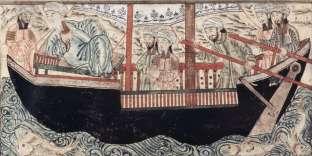 L'arche de Noé dans Jâmi Al-Tawârîkh (Histoire universelle) par Rashîd al-Dîn (1314-1315) Tabriz, Iran.