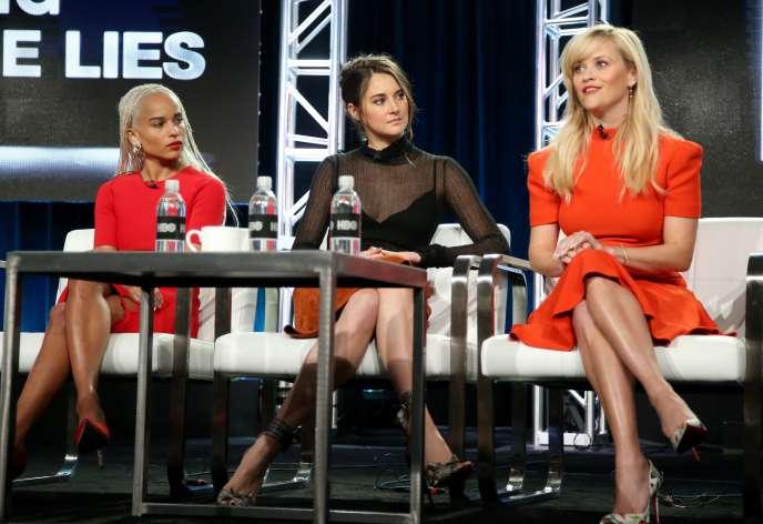 Reese Witherspoon (à droite) lors de la journée presse, organisée par la chaîne HBO à Pasadena samedi 14 janvier.