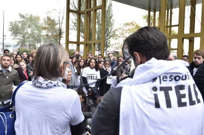 Grève à i-Télé le 28 octobre 2016.