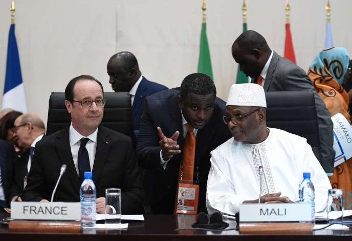 Francois Hollande et le président malien Ibrahim Boubacar Keïta, le 14 janvier à Bamako.