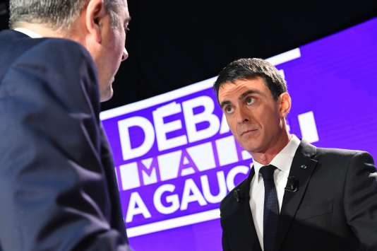 Manuel Valls, lors du deuxième débat de la primaire à gauche, dimanche15janvier.