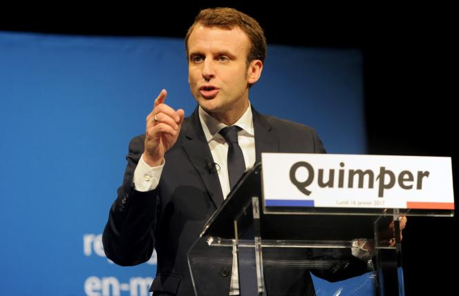 Emmanuel Macron en meeting à Quimper (Finistère), lundi 16janvier.