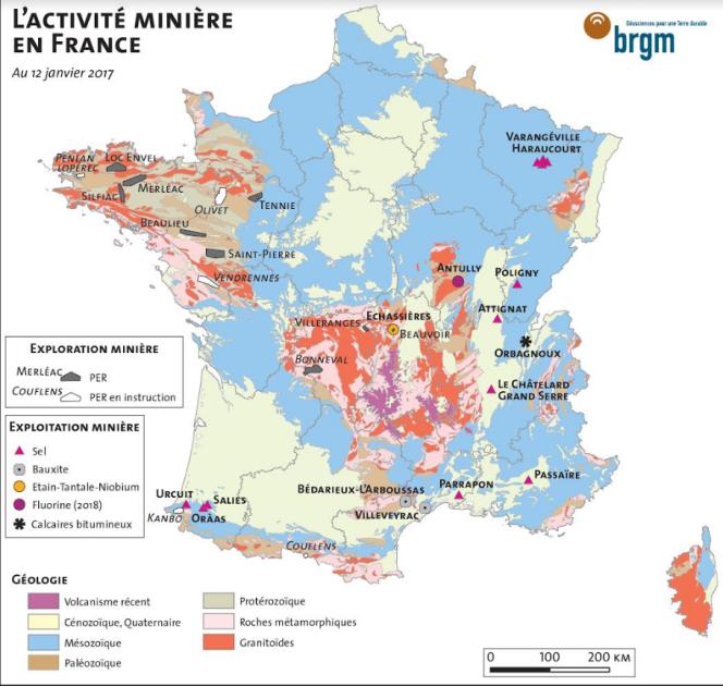 L'activité minière en France au 12 janvier 2017