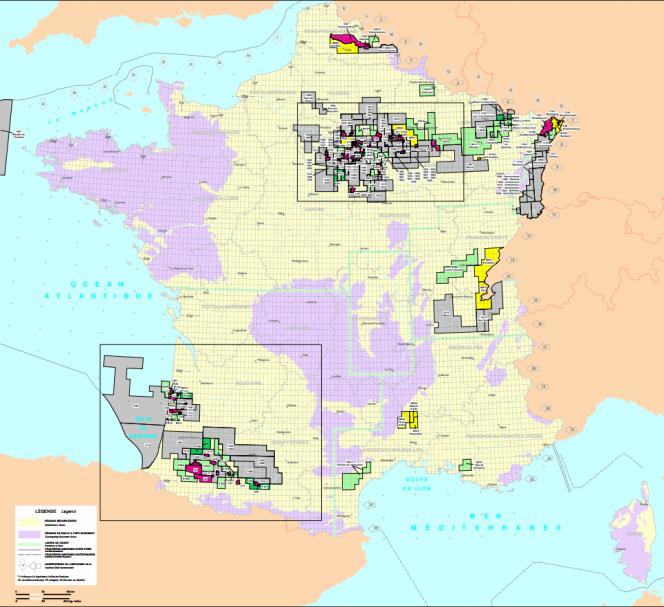 Périmètres des titres miniers d'hydrocarbures en métropole (au 1er juillet 2015)