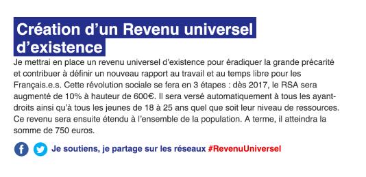 La proposition de Benoît Hamon concernant le revenu universel d'existence sur son site au 8 janvier 2017.