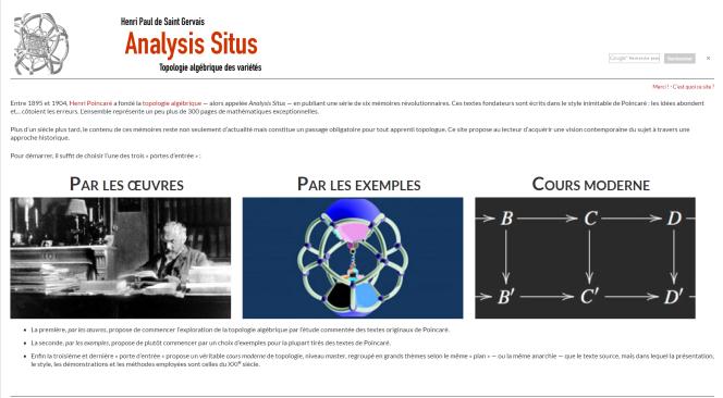 Le site «Analysis Situs», de l'ancien nom de la topologie algébrique, qui représente un thème de recherche actif dans les mathématiques contemporaines.