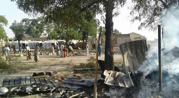 Le camp de déplacés de Rann dans le Nord du Nigeria le 17 janvier après que l'armée nigériane l'a bombardé (image de Médecins sans frontières).