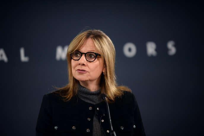 Mary Barra, PDG de General Motors, lors d'une conférence de presse à Detroit (Michigan), le 15 décembre 2016.