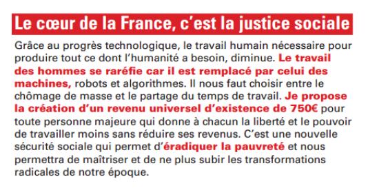 La proposition de Benoît Hamon concernant le revenu universel d'existence dans un tract du 16 novembre 2016.