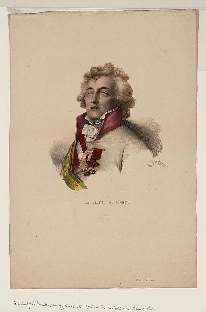 Le prince de Ligne en 1784. Lithogravure de H. Grevedon, 1825.