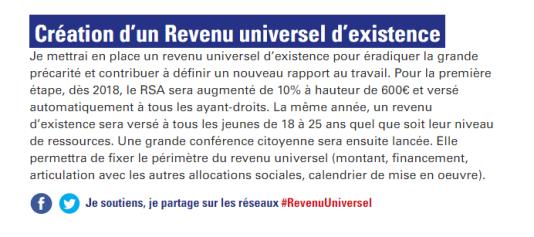 La proposition de Benoît Hamon concernant le revenu universel d'existence sur son site au 17 janvier 2017.