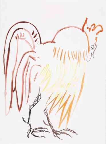 « Le CoqLucky colors: or, marron, jaune. » Une chanson et la terre tourne rond.Deux cris encadrentlesilence.Plus que deux il n'y a pas besoin.Il ne faut que les répéter.