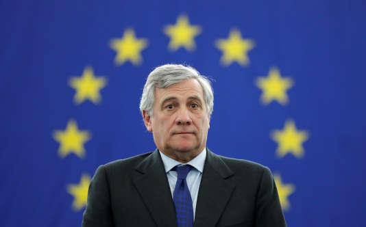 Antonio Tajani au Parlement européen, à Strasbourg, le 17 janvier 2017.