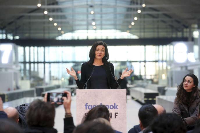 Sheryl Sandberg, patronne de Facebook, lors de sa visite à Station F, il y a un an, en janvier 2017.