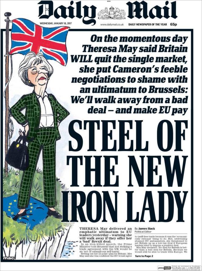 La Une du Daily Mail, le 18 janvier, au lendemain du discours de Theresa May sur le Brexit.