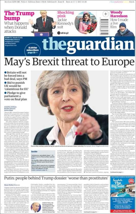 La « une» du «Guardian», le 18janvier, au lendemain du discours de TheresaMay sur le «Brexit».