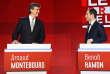 Arnaud Montebourg et Benoît Hamon, lors du deuxième débat télévisé de la primaire à gauche, le 15 janvier.