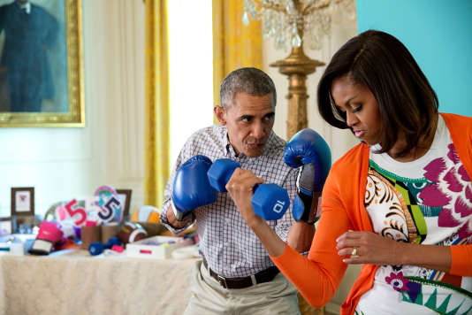 Barack et Michelle Obama dans l'East Room de la Maison Blanche, le 6 avril 2015.