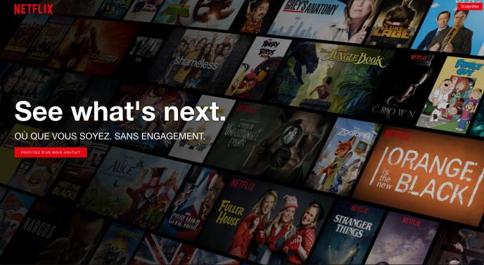 Ecran d'accueil de Netflix.