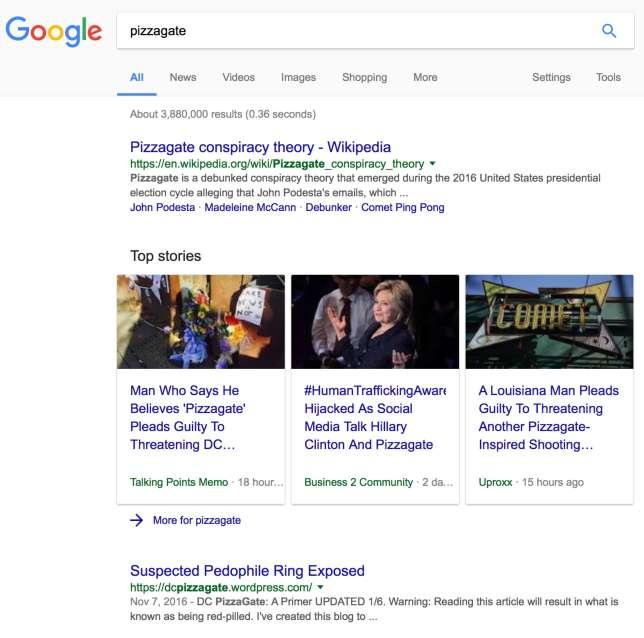 Une recherche sur Google peut amener vers un article réfléchi et structuré sur Wikipedia comme sur un site conspirationniste de « clickbait».