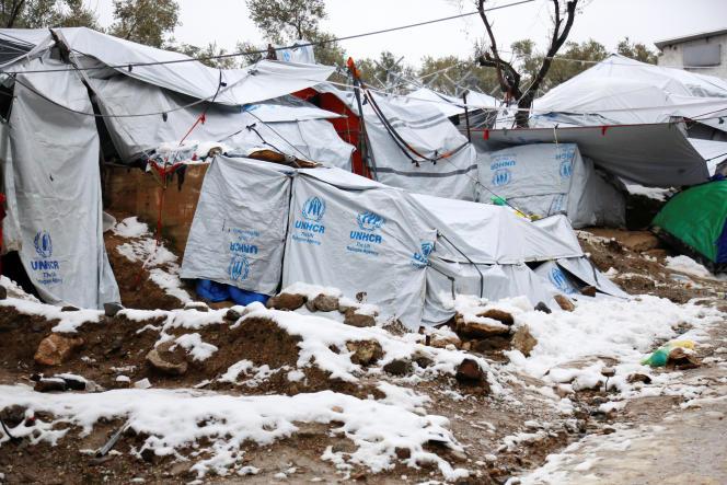 Dans le camp de Moria, sur l'île de Lesbos, le 10 janvier.
