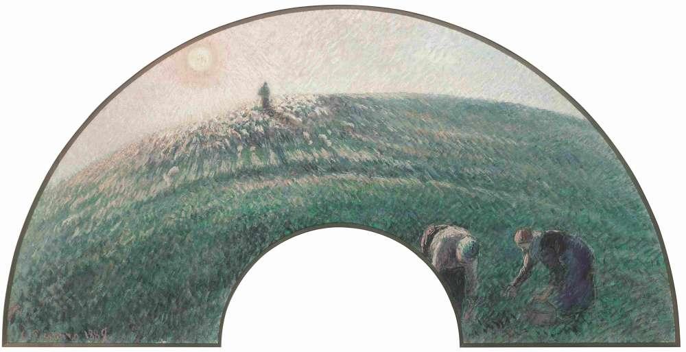 Christophe Duvivier: «Avec une soixantaine d'éventails, Pissarro est l'impressionniste qui a été le plus inventif dans ce domaine rendu populaire par le japonisme. Les fines touches croisées de ce troupeau de moutons, soleil couchant, signalent l'appartenance de cette composition à sa période néo-impressionniste. Les moutons sont enveloppés par la lumière d'une fin de journée qui est décomposée en couleurs complémentaires tandis que l'horizon se courbe pour dialoguer avec la forme décorative de l'éventail.»