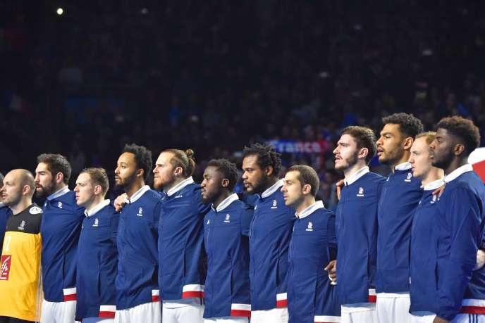 L'équipe de France, le 19 janvier, avant le match contre la Pologne.