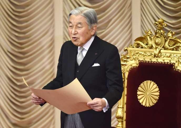 L'empereur du Japon, Akihito, lors d'un discours devant le Parlement le 20 janvier 2017.