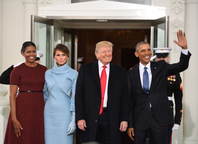 Les couples Obama et Trump, vendredi 20 janvier, à la Maison Blanche.