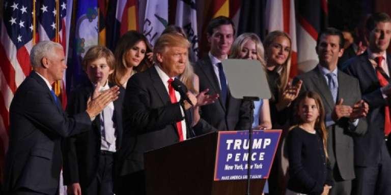 Donald Trump et une partie de sa famille le 9 novembre 2016 à New York, au lendemain de la victoire républicaine à l'élection présidentielle américaine.