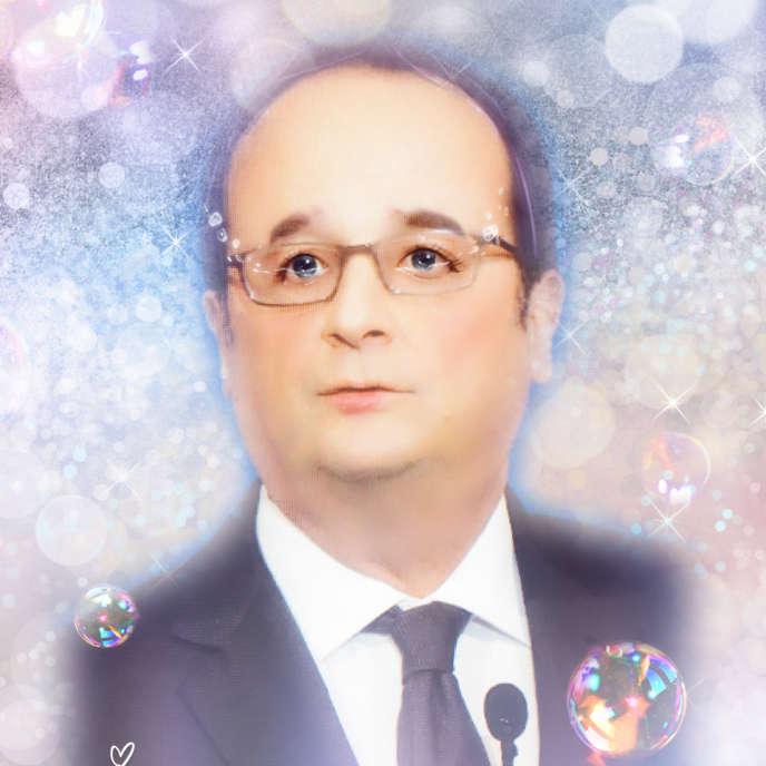 François Hollande vu par l'application Meitu.