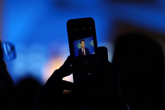 Discours du président chinois Xi Jinping, au Forum économique mondial (WEF), à Davos (Suisse), le 17 janvier.