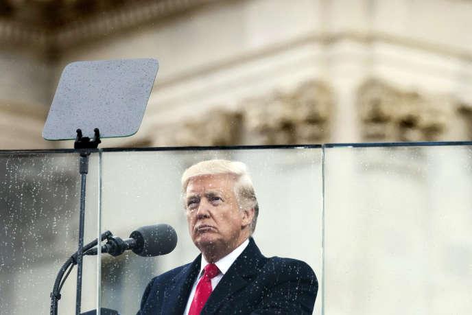 Donald Trump lors de son discours d'investiture à Washington, le 20 janvier.