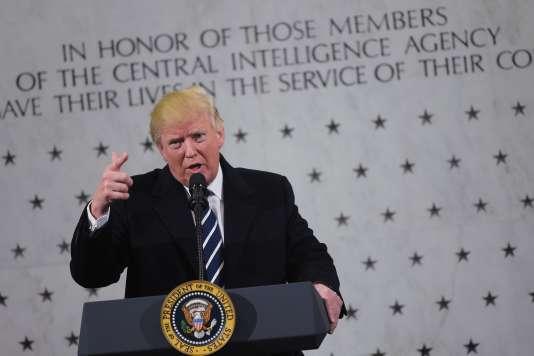 Le président Donald Trump a prononcé un discours au siège de la CIA à Langley, en Virginie, le samedi 21 janvier.