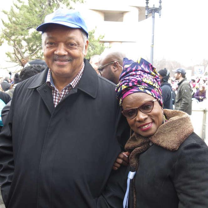 Angélique Kidjo en compagnie du pasteur Jesse Jackson.