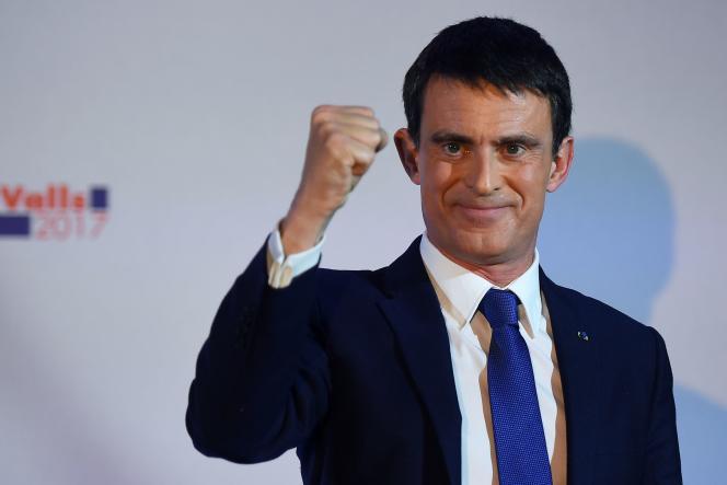 Manuel Valls, le 22 janvier, après l'annonce des résultats du premier tour de la primaire à gauche.