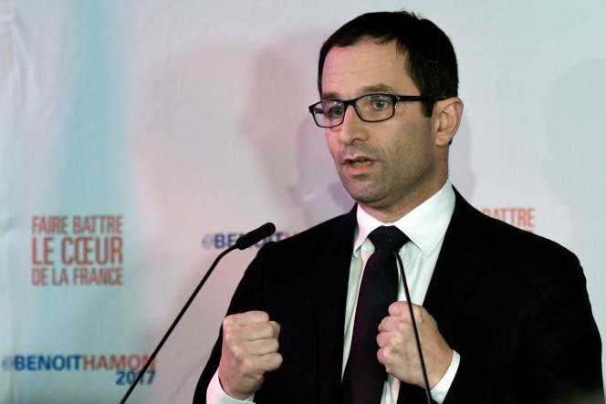 Benoît Hamon, le 22 janvier, après l'annonce des résultats du premier tour de la primaire à gauche.