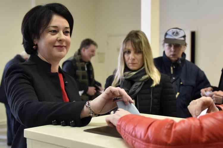 Sylvia Pinel a voté à Castelsarrasin (Tarn-et-Garonne).